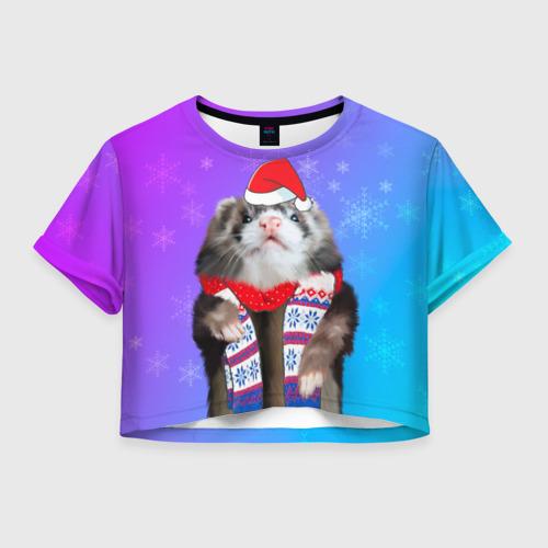 Женская футболка Crop-top 3D Новогодний хорёк