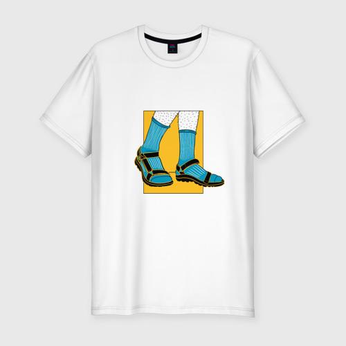 Мужская футболка хлопок Slim Сандали с носками прикол