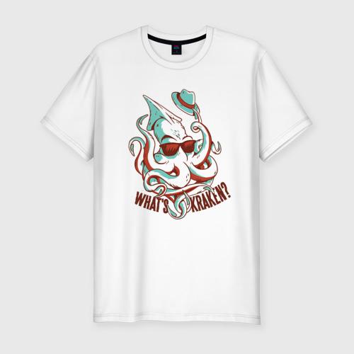 Мужская футболка хлопок Slim Точно не Кракен - прикол